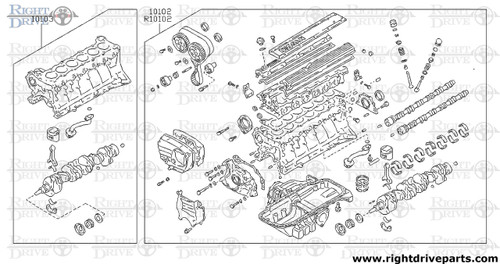 10102 - engine assembly, bare - BNR32 Nissan Skyline GT-R