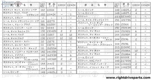 11042K - gasket kit, valve regrind - BNR32 Nissan Skyline GT-R