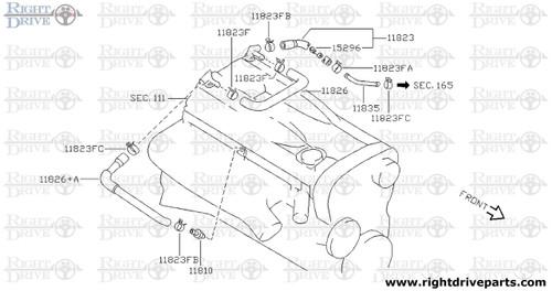 11823FA - clamp, hose A - BNR32 Nissan Skyline GT-R