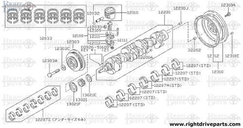 12010 - piston with pin - BNR32 Nissan Skyline GT-R