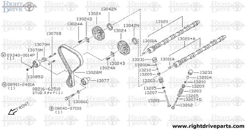 13070M - tensioner assembly, belt - BNR32 Nissan Skyline GT-R