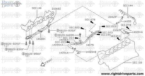 14020H - connector, water hose - BNR32 Nissan Skyline GT-R