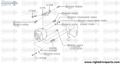 11716A - bolt - BNR32 Nissan Skyline GT-R