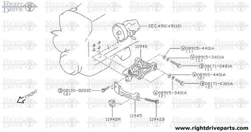 11940 - bracket, power steering oil pump - BNR32 Nissan Skyline GT-R