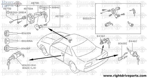 84360 - cylinder set, gas filler lock - BNR32 Nissan Skyline GT-R
