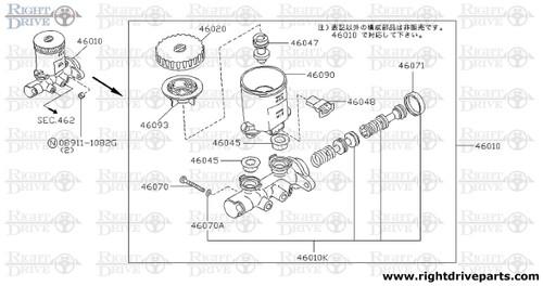 46010k piston kit tandem brake master cylinder bnr32 nissan rh rightdriveparts com Master Cylinder Brake Line Diagram Chevy Brake Master Cylinder Diagram