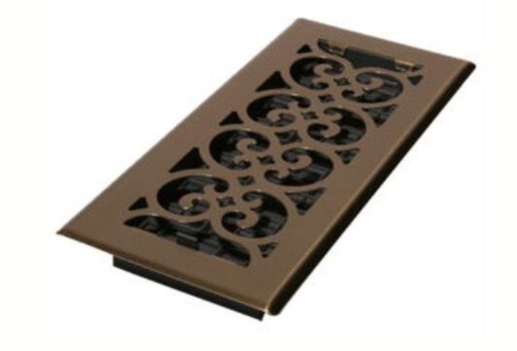 "Decor Grates 4"" x 8"" Antique Brass Floor Register"