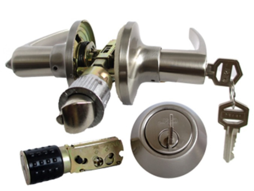 Stainless Steel Lever Exterior Lock and Deadbolt Set