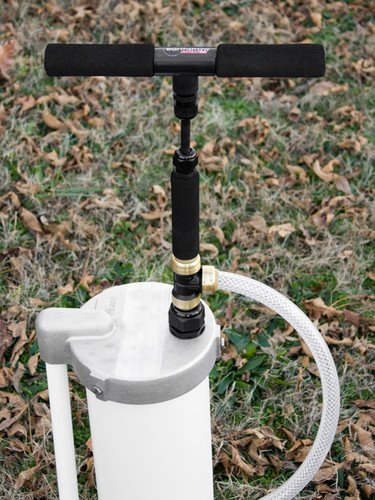 """Detailed view of EarthStraw System mounted with optional 6"""" Well Cap with Gripper. Well Cap is also available for 4"""" casings."""