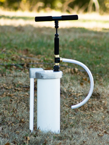 """EarthStraw System mounted with optional 6"""" Well Cap with Gripper. Well Cap is also available for 4"""" casings."""
