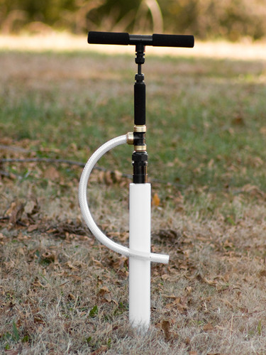 "EarthStraw System mounted with optional 2"" Well Seal with Gripper. Well Seals are also available for 4"", 6"", and 8"" casings."