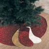 Elegant Gold Embroidery Burgundy Christmas Tree Skirt
