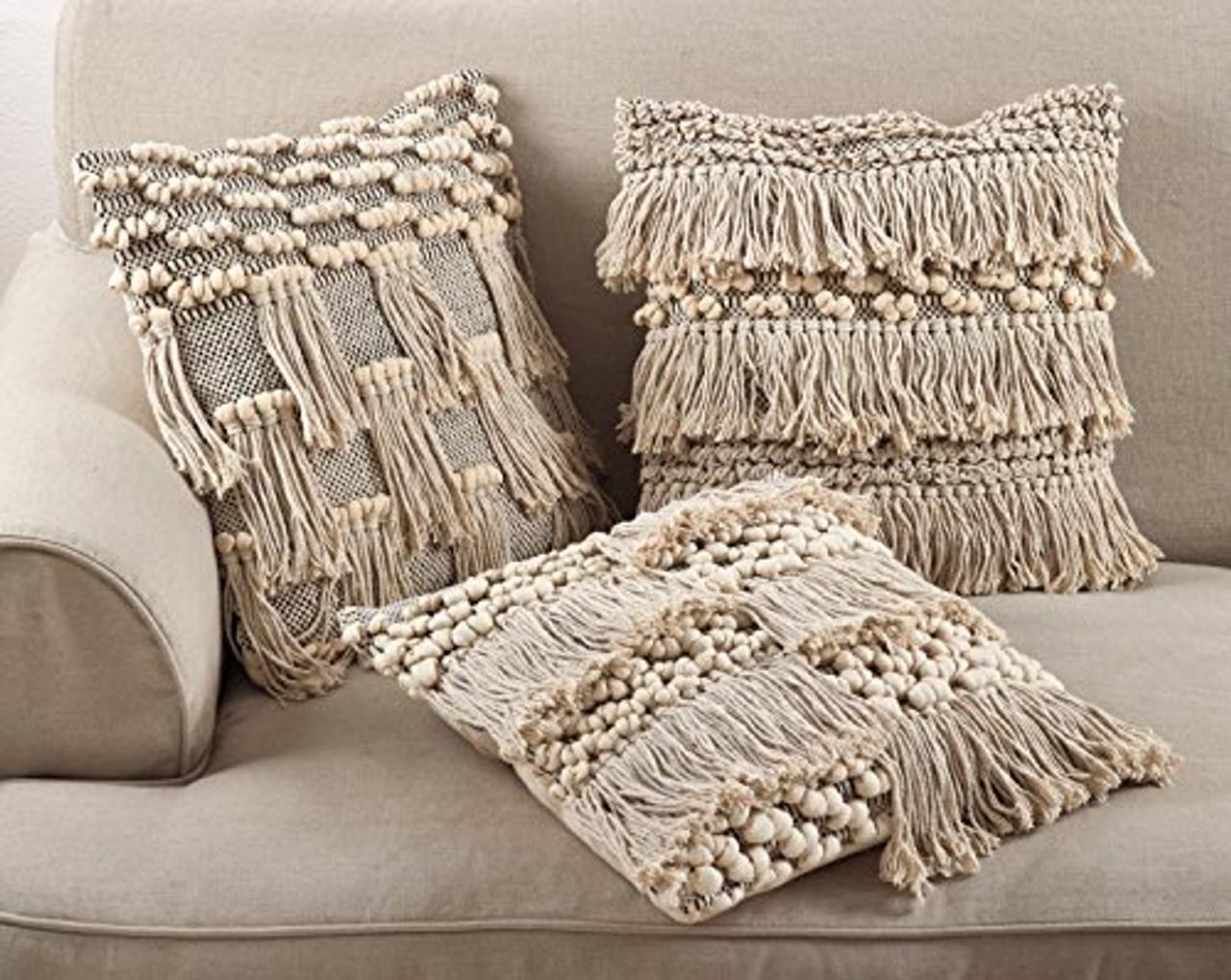 Fennco Styles Moroccan Wedding Blanket Style Design Fringe Cotton Down Filled Throw Pillow