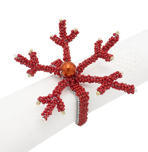 Fennco Styles Hand Beaded Coral Napkin Rings-Set of 4