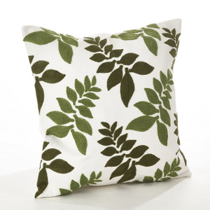 """Fennco Styles Pollice Verde Collection Crewel Work Design Down Filled Cotton Throw Pillow - 17"""" Square"""