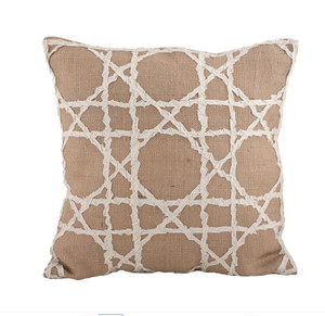 Lacey Jute Fretwork Down Filled Decorative Throw Pillow