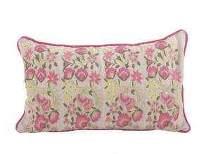 Odelette Embroidered Floral Down Filled Throw Pillow