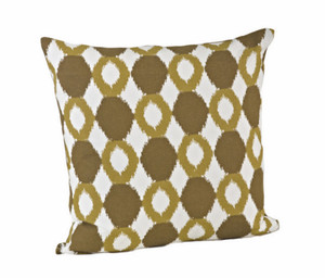 Contemporary Ikat Cotton Feather Filled Throw Pillow