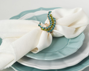 Jeweled Peacock Tail Napkin Ring, Set of 4