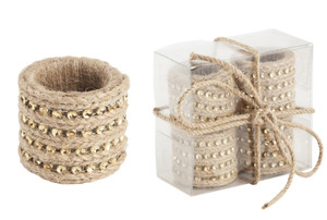 Chic Jute with Studs Napkin Rings, Set of 4