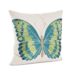 Papillon Embroidered and Appliqué Butterfly Decorative Throw Pillow