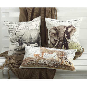 Wild Animal Design Cotton Down Filled Decorative Throw Pillow
