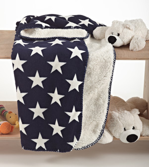 Reversible Star Design Sherpa Plush and Cozy Throw Blanket, Navy and White