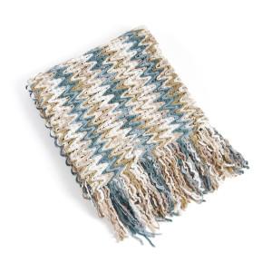 Knitted Chevron Design Throw Blanket