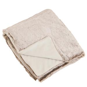 Plush Natural Faux Fur Throw Blanket
