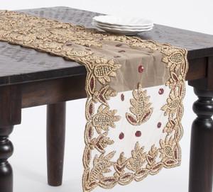 Fennco Styles Elegant Hand Beaded Rectangular Table Runner