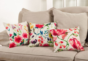 Fennco Styles 18-inch Watercolor Floral Down Filled Throw Pillow, 3 Designs
