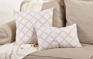 Fennco Styles Appliqué Design Cotton Throw Pillow, Natural, 2 Sizes
