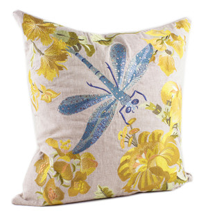 Fennco Styles Embroidered Collection Decorative Throw Pillow, Filler Included, 18-Inch Square