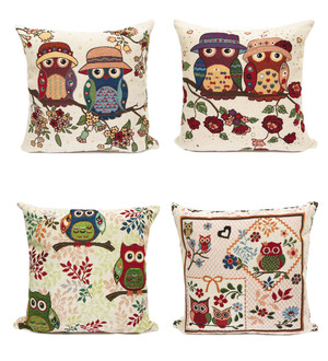 Fennco Styles Owl Collection Woven Decorative Throw Pillow - 17-inch Square