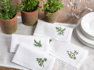 "Fennco Styles Embroidered Hemstitched Trim Border Cotton Napkin 20"" Square - Set of 4"