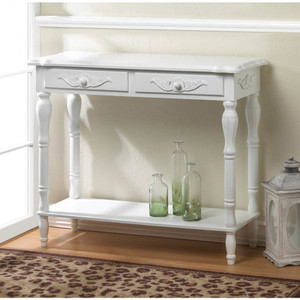 Fennco Styles Home Décor Classic Carved White Hallway Table