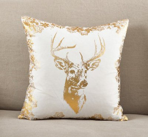 Fennco Styles Metallic Foil Reindeer Print Cotton Throw Pillow