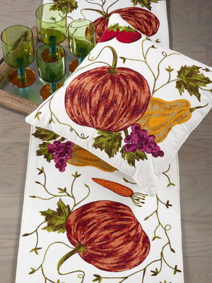 Fennco Styles Pumpkin  Embroidered  Decorative Cotton Throw Pillow & Table Runner