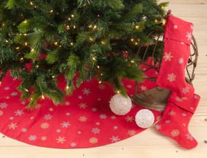 Snowflake Cotton Christmas Tree Skirt