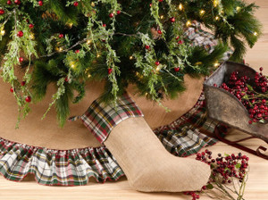 Fennco Styles Inverness Collection Plaid Design Decorative Jute Christmas Stocking / Tree Skirt