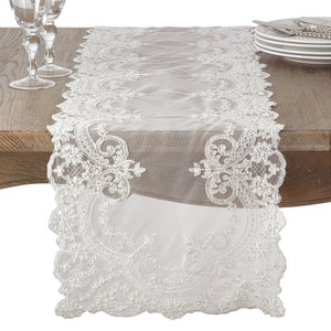 """Fennco Styles Embroidered Floral Lace and Beaded Antique Style Table Runner 16""""x72"""""""
