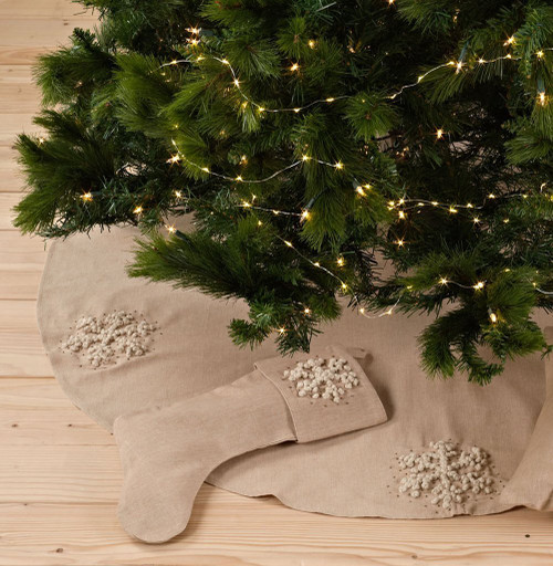 Hand Knotted Snowflake Christmas Tree Skirt and Stocking