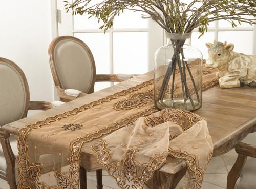 Fennco Styles Handmade Beaded Design Table Runner   2 Sizes
