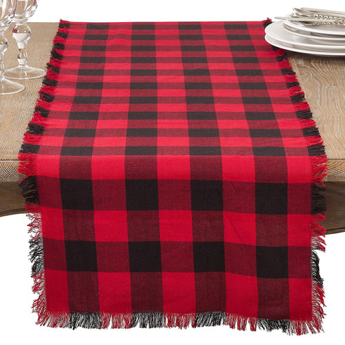 Buffalo Plaid Classic Design Fringed Cotton Collection