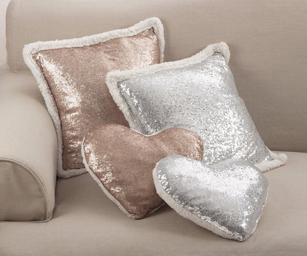 Fennco Styles Charming Sequin and Sherpa Decorative Throw Pillow