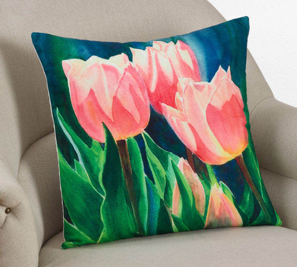 "Graphic Printed Tulip Decoravtive Poly Filled Throw Pillow 18"" Square"