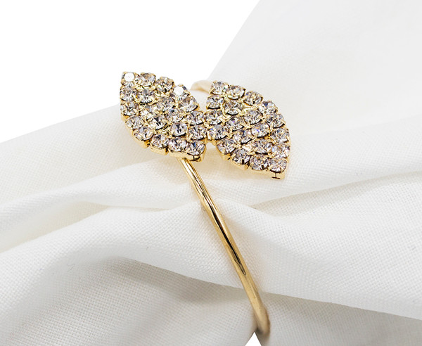 Fennco Styles Elegant Crystal Rhinestone Leaf Napkin Ring-2 Colors (Gold)