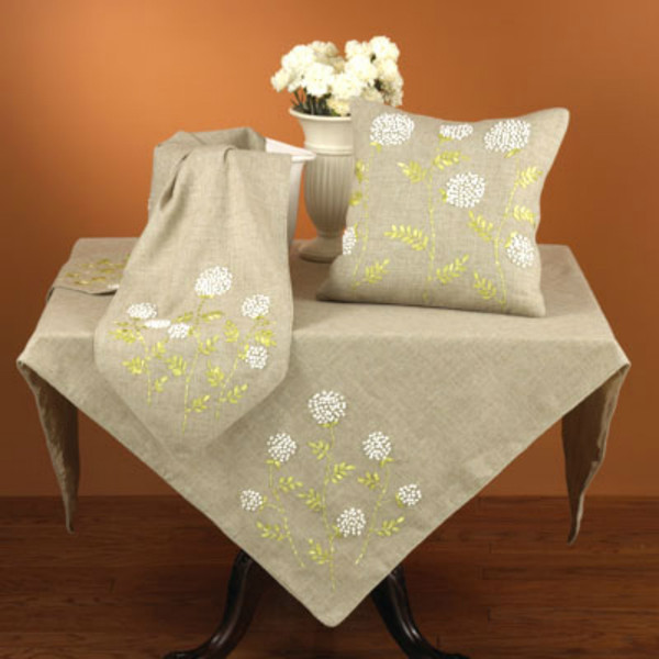 Ribbon Embroidered Decorative Floral Throw Pillow