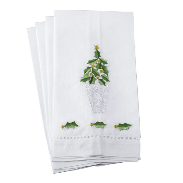 Fennco Styles Embroidered Holly Leaf Christmas Tree Design Hemstitched Linen Cotton Guest Towel or Napkin-set of 4