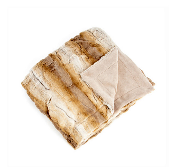 Animal Design Faux Fur Throw Blanket, Natural